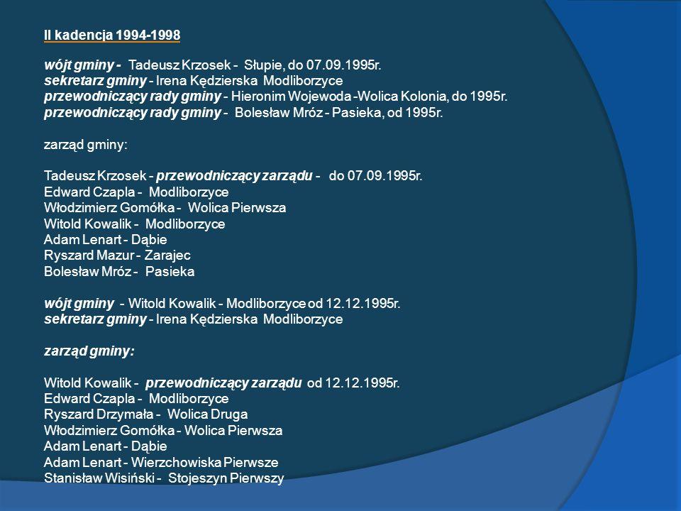 II kadencja 1994-1998 wójt gminy - Tadeusz Krzosek - Słupie, do 07.09.1995r. sekretarz gminy - Irena Kędzierska Modliborzyce przewodniczący rady gminy