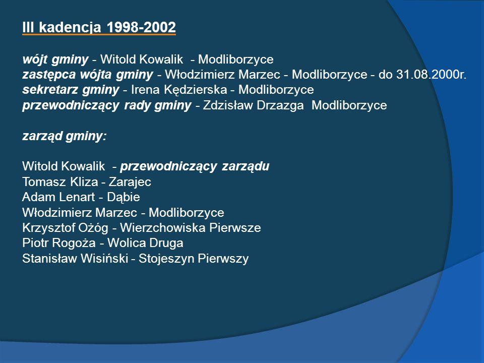 III kadencja 1998-2002 wójt gminy - Witold Kowalik - Modliborzyce zastępca wójta gminy - Włodzimierz Marzec - Modliborzyce - do 31.08.2000r. sekretarz