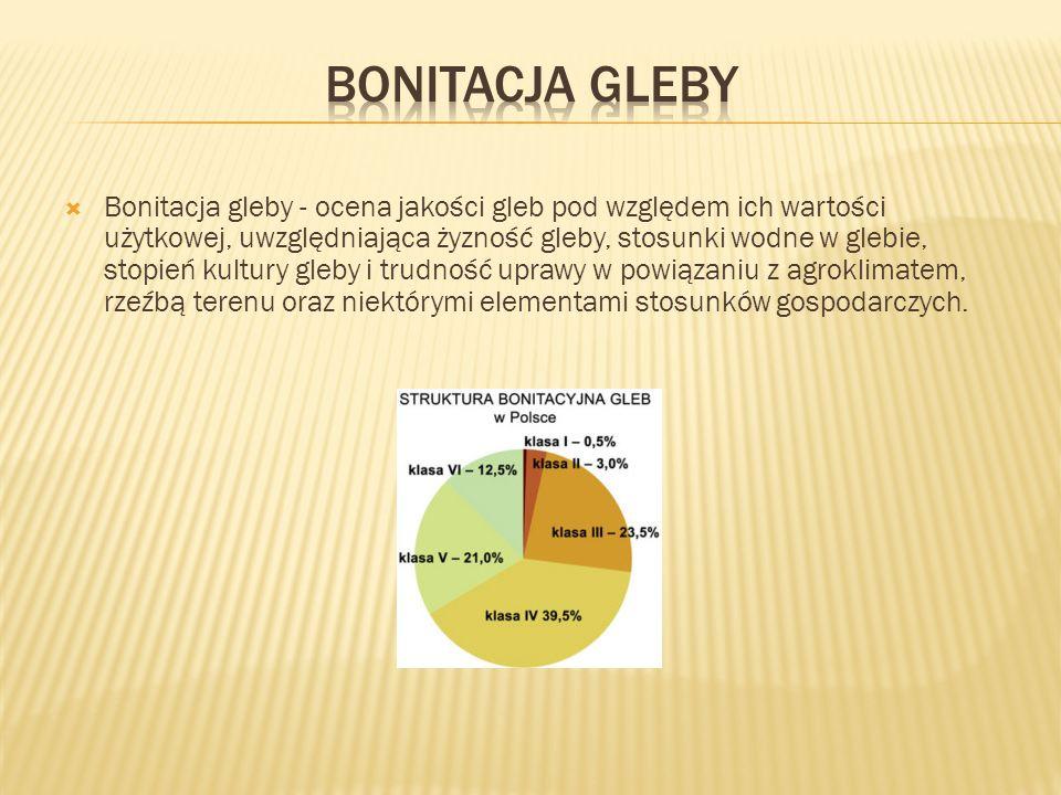 Bonitacja gleby - ocena jakości gleb pod względem ich wartości użytkowej, uwzględniająca żyzność gleby, stosunki wodne w glebie, stopień kultury gleby i trudność uprawy w powiązaniu z agroklimatem, rzeźbą terenu oraz niektórymi elementami stosunków gospodarczych.