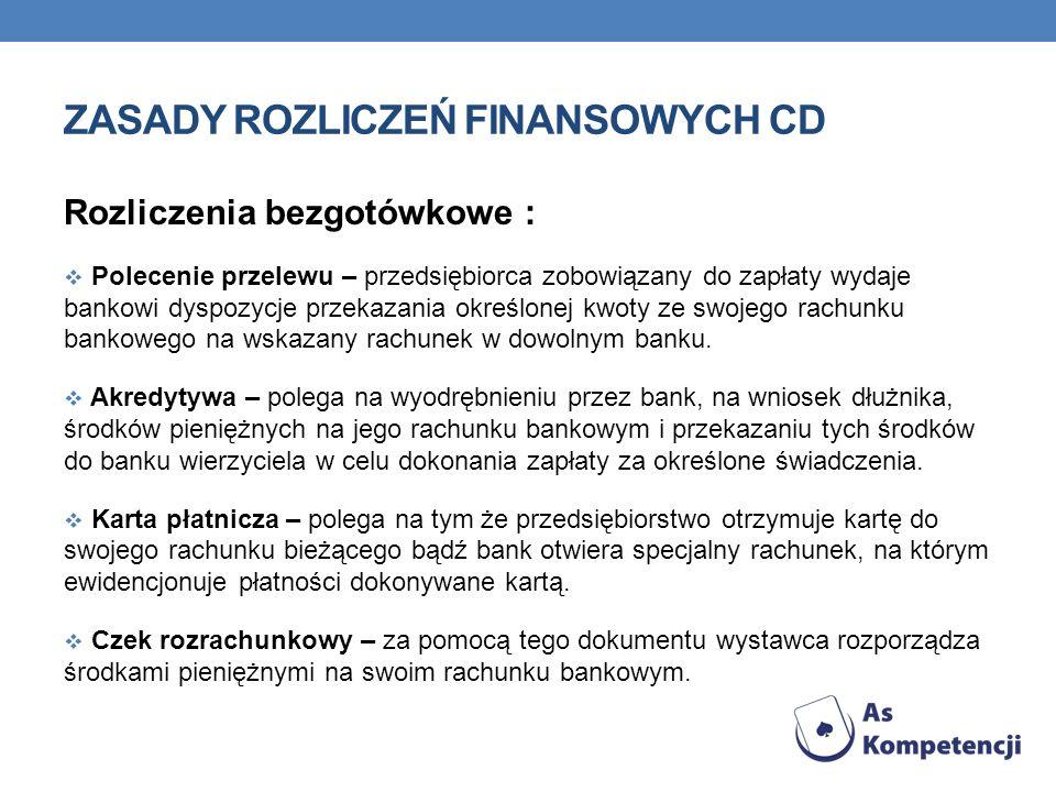 ZASADY ROZLICZEŃ FINANSOWYCH CD Rozliczenia bezgotówkowe : Polecenie przelewu – przedsiębiorca zobowiązany do zapłaty wydaje bankowi dyspozycje przeka