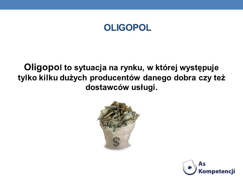 OLIGOPOL Oligopo l to sytuacja na rynku, w której występuje tylko kilku dużych producentów danego dobra czy też dostawców usługi.