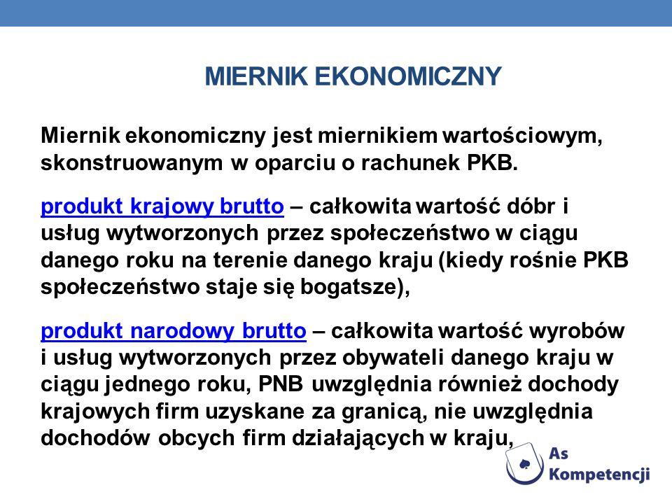 MIERNIK EKONOMICZNY Miernik ekonomiczny jest miernikiem wartościowym, skonstruowanym w oparciu o rachunek PKB. produkt krajowy bruttoprodukt krajowy b