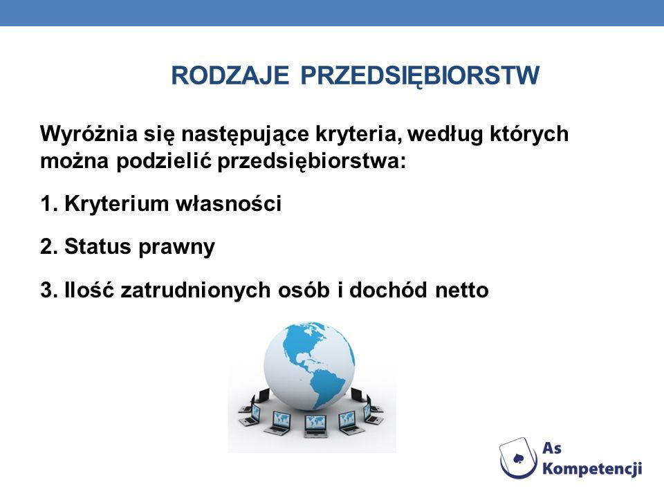 RODZAJE PRZEDSIĘBIORSTW Wyróżnia się następujące kryteria, według których można podzielić przedsiębiorstwa: 1. Kryterium własności 2. Status prawny 3.