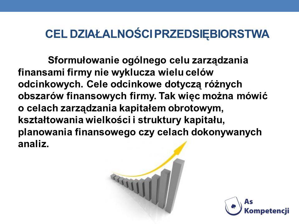 CEL DZIAŁALNOŚCI PRZEDSIĘBIORSTWA Sformułowanie ogólnego celu zarządzania finansami firmy nie wyklucza wielu celów odcinkowych. Cele odcinkowe dotyczą