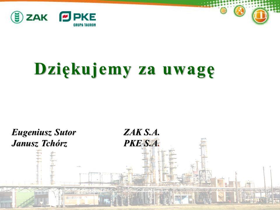 Dziękujemy za uwagę 15 Eugeniusz SutorZAK S.A. Janusz TchórzPKE S.A.