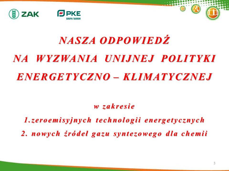 NASZA ODPOWIEDŹ NA WYZWANIA UNIJNEJ POLITYKI ENERGETYCZNO – KLIMATYCZNEJ w zakresie 1.zeroemisyjnych technologii energetycznych 2. nowych źródeł gazu