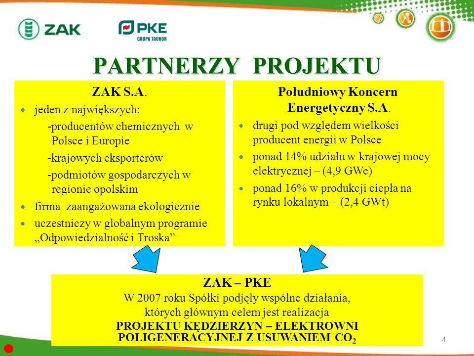 PARTNERZY PROJEKTU ZAK S.A. jeden z największych: -producentów chemicznych w Polsce i Europie -krajowych eksporterów -podmiotów gospodarczych w region