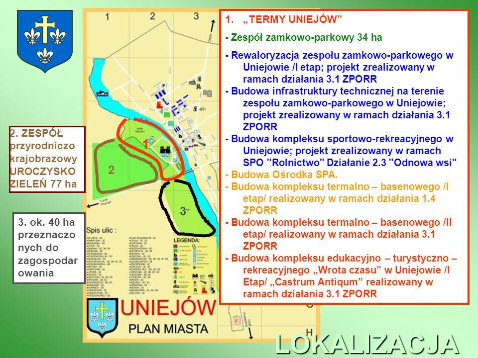 1 2 3 LOKALIZACJA 1.TERMY UNIEJÓW - Zespół zamkowo-parkowy 34 ha - Rewaloryzacja zespołu zamkowo-parkowego w Uniejowie /I etap; projekt zrealizowany w