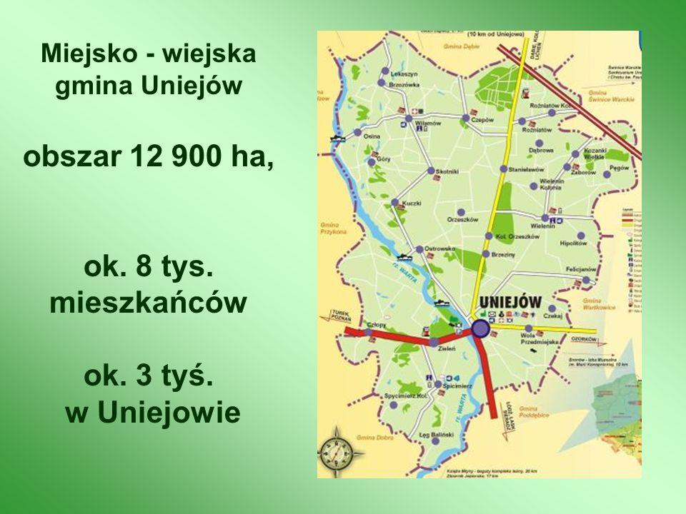 Miejsko - wiejska gmina Uniejów obszar 12 900 ha, ok. 8 tys. mieszkańców ok. 3 tyś. w Uniejowie