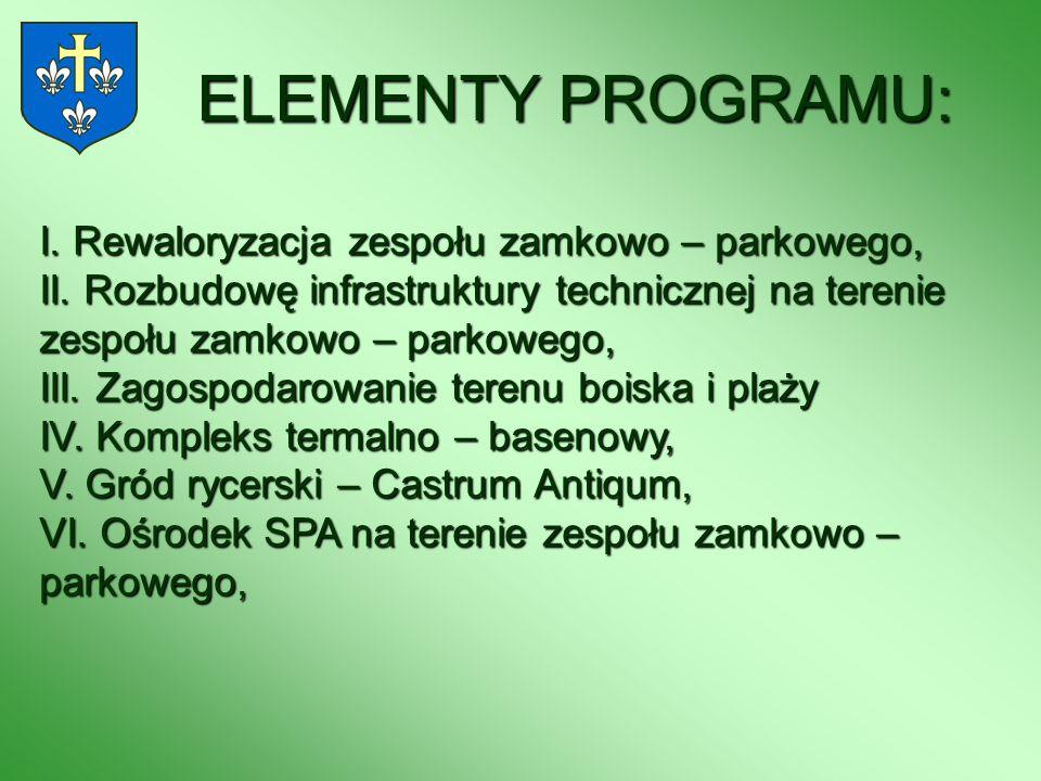 ELEMENTY PROGRAMU: I. Rewaloryzacja zespołu zamkowo – parkowego, II. Rozbudowę infrastruktury technicznej na terenie zespołu zamkowo – parkowego, III.