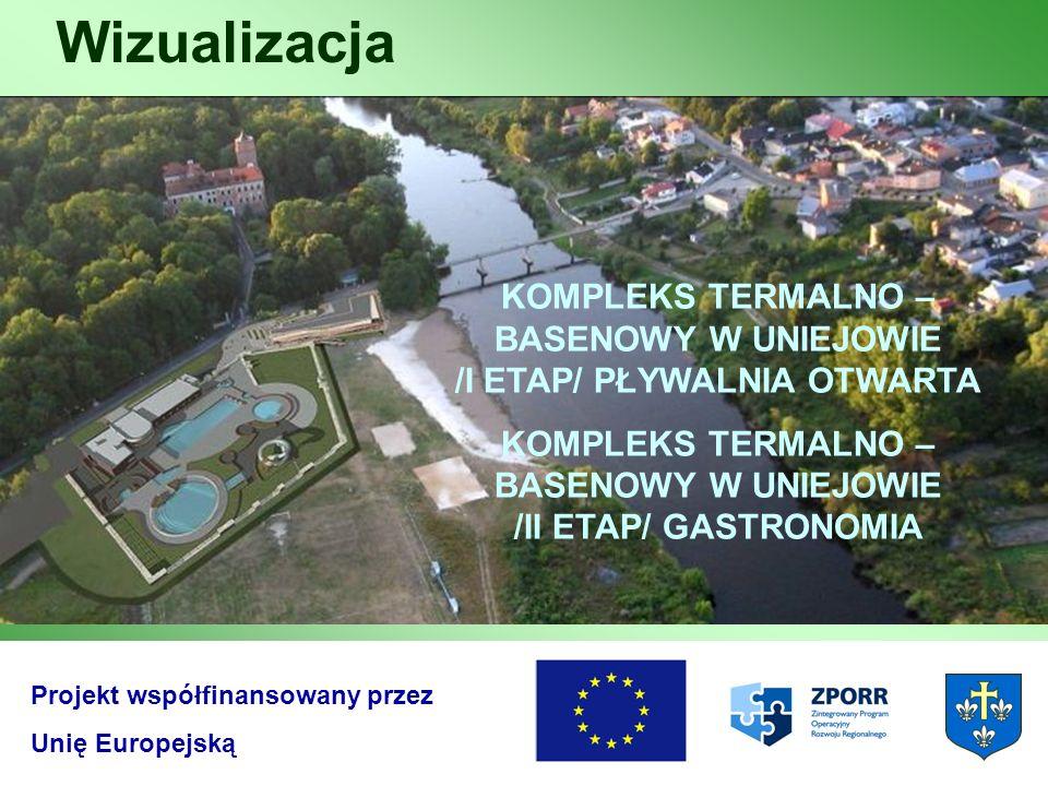 Wizualizacja Projekt współfinansowany przez Unię Europejską KOMPLEKS TERMALNO – BASENOWY W UNIEJOWIE /I ETAP/ PŁYWALNIA OTWARTA KOMPLEKS TERMALNO – BA