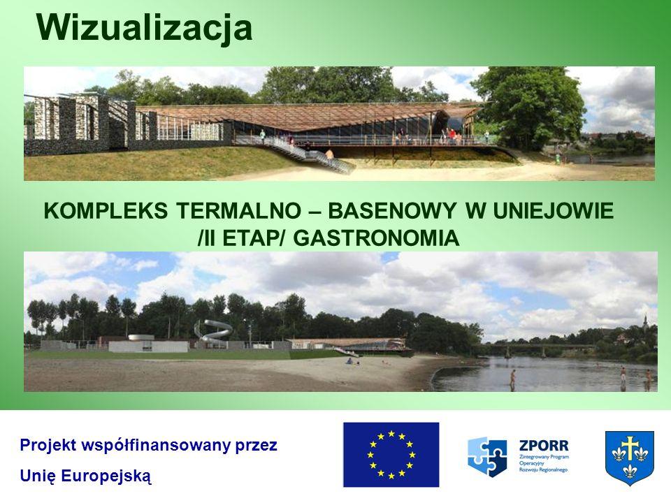 Wizualizacja Projekt współfinansowany przez Unię Europejską KOMPLEKS TERMALNO – BASENOWY W UNIEJOWIE /II ETAP/ GASTRONOMIA