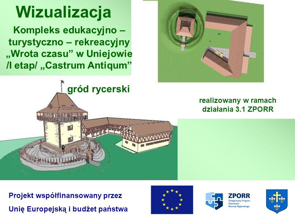 Wizualizacja Projekt współfinansowany przez Unię Europejską i budżet państwa Kompleks edukacyjno – turystyczno – rekreacyjny Wrota czasu w Uniejowie /
