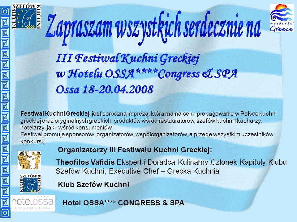 Festiwal Kuchni Greckiej, jest coroczną imprezą, która ma na celu propagowanie w Polsce kuchni greckiej oraz oryginalnych greckich produktów wśród res