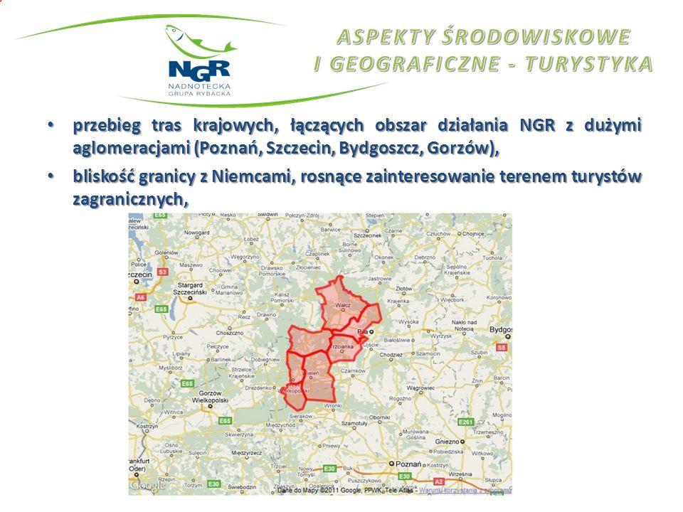 przebieg tras krajowych, łączących obszar działania NGR z dużymi aglomeracjami (Poznań, Szczecin, Bydgoszcz, Gorzów), przebieg tras krajowych, łączący
