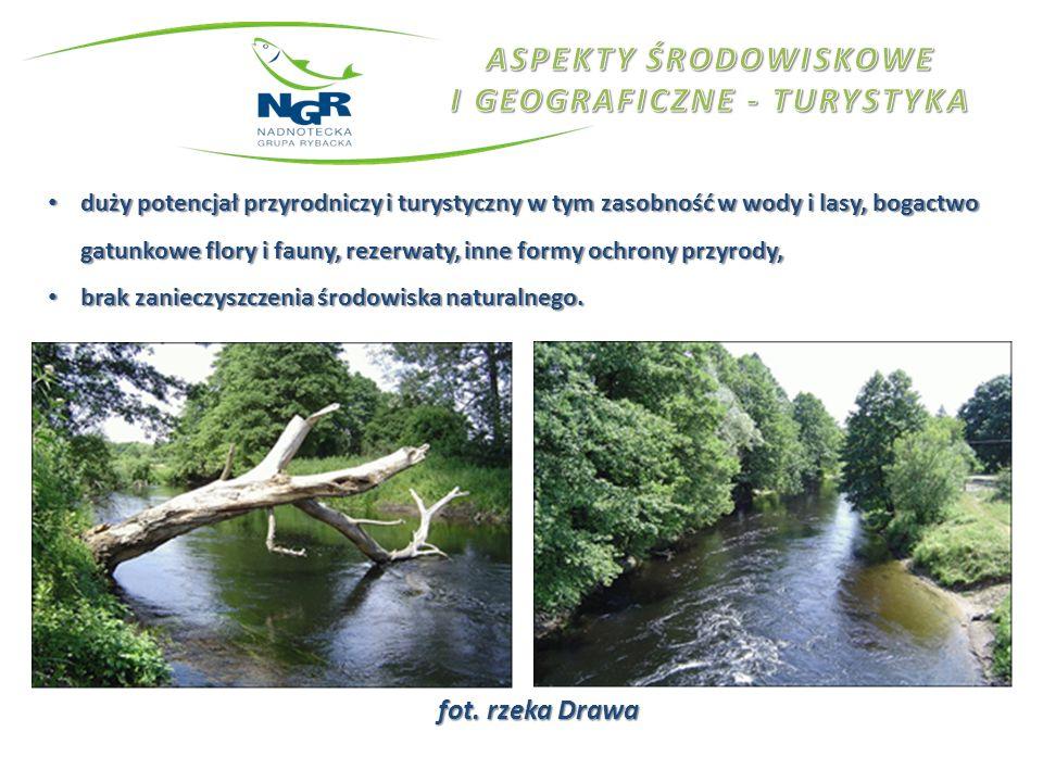 fot. rzeka Drawa duży potencjał przyrodniczy i turystyczny w tym zasobność w wody i lasy, bogactwo gatunkowe flory i fauny, rezerwaty, inne formy ochr