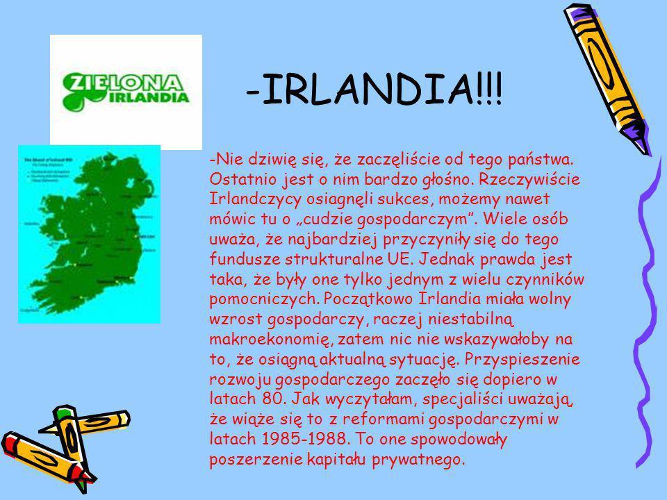 -IRLANDIA!!. -Nie dziwię się, że zaczęliście od tego państwa.
