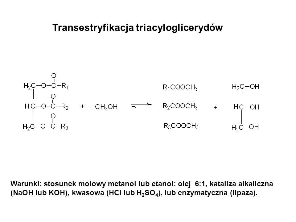 Transestryfikacja triacyloglicerydów Warunki: stosunek molowy metanol lub etanol: olej 6:1, kataliza alkaliczna (NaOH lub KOH), kwasowa (HCl lub H 2 S