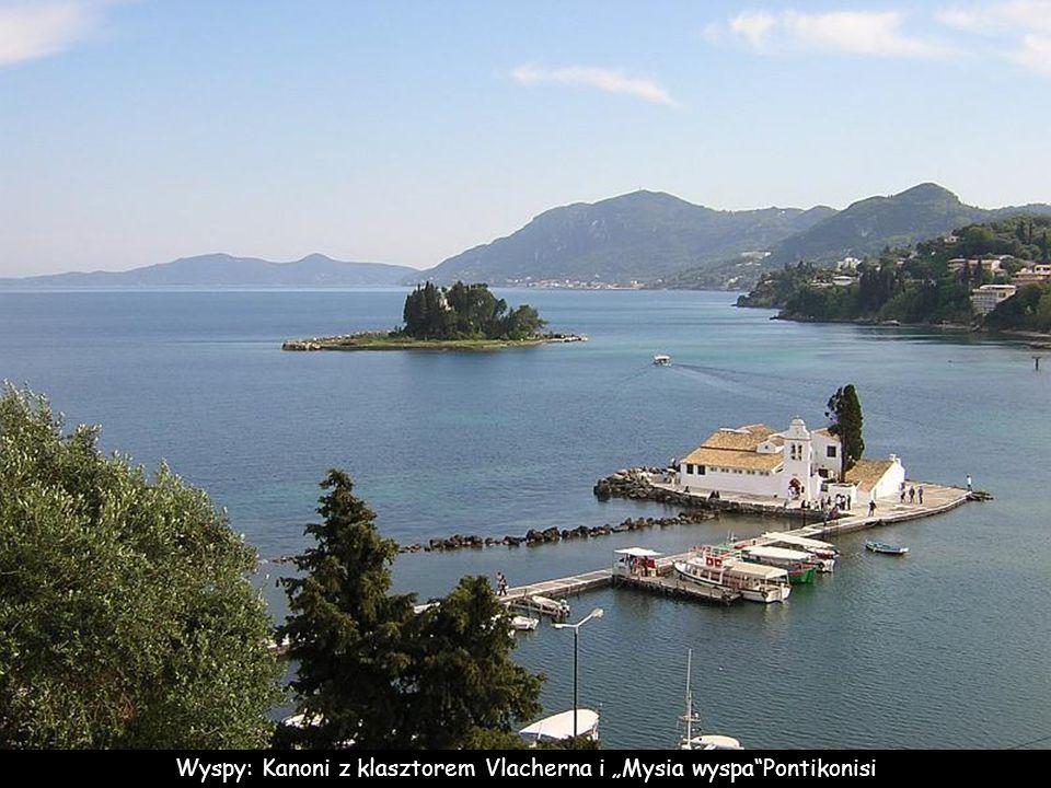 Wyspy: Kanoni z klasztorem Vlacherna i Mysia wyspaPontikonisi