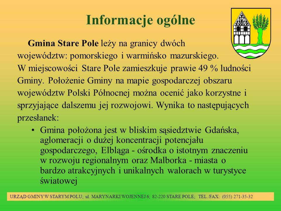 Informacje ogólne Gmina Stare Pole leży na granicy dwóch województw: pomorskiego i warmińsko mazurskiego. W miejscowości Stare Pole zamieszkuje prawie