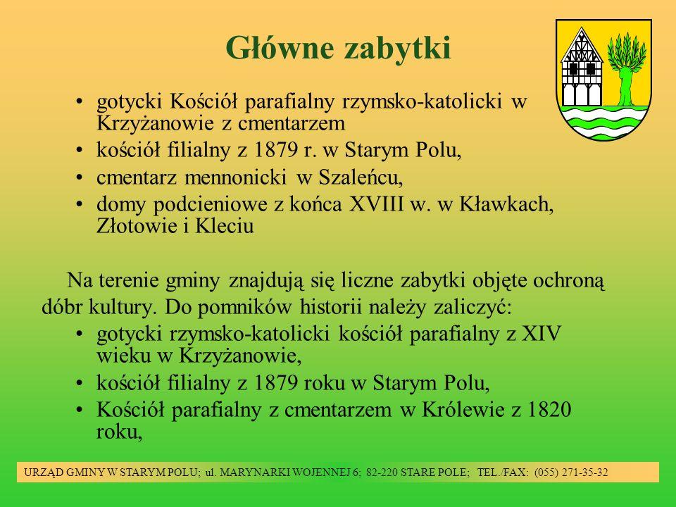 Główne zabytki URZĄD GMINY W STARYM POLU; ul. MARYNARKI WOJENNEJ 6; 82-220 STARE POLE; TEL./FAX: (055) 271-35-32 gotycki Kościół parafialny rzymsko-ka