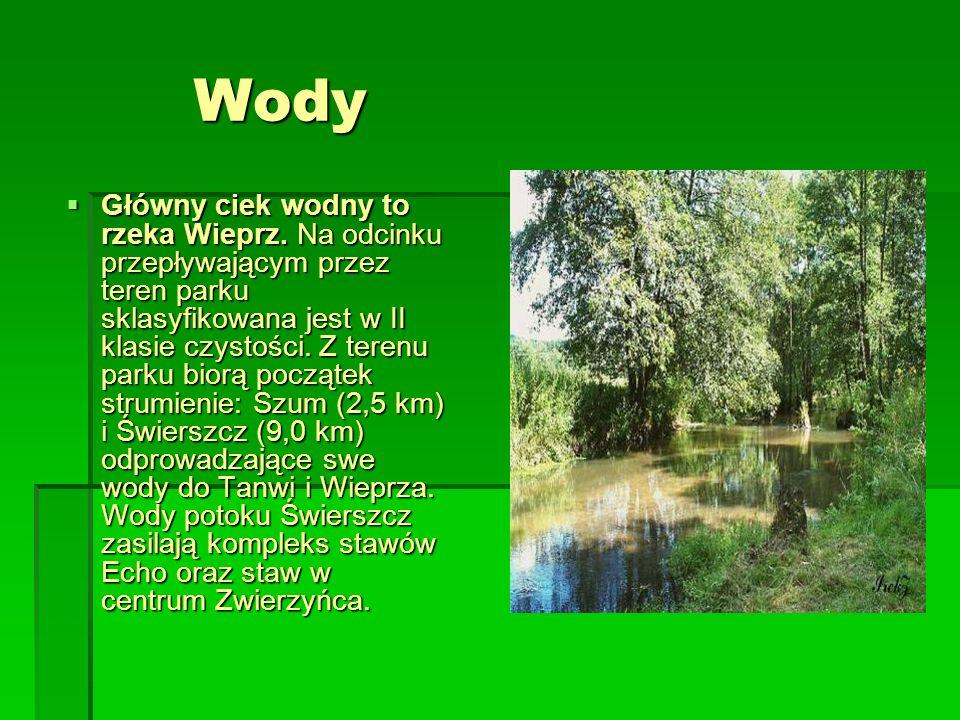Wody Wody Główny ciek wodny to rzeka Wieprz. Na odcinku przepływającym przez teren parku sklasyfikowana jest w II klasie czystości. Z terenu parku bio