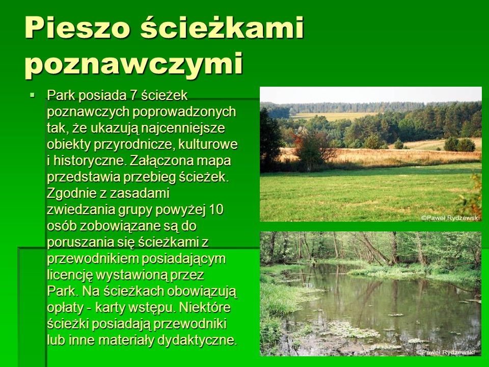 Pieszo ścieżkami poznawczymi Park posiada 7 ścieżek poznawczych poprowadzonych tak, że ukazują najcenniejsze obiekty przyrodnicze, kulturowe i history