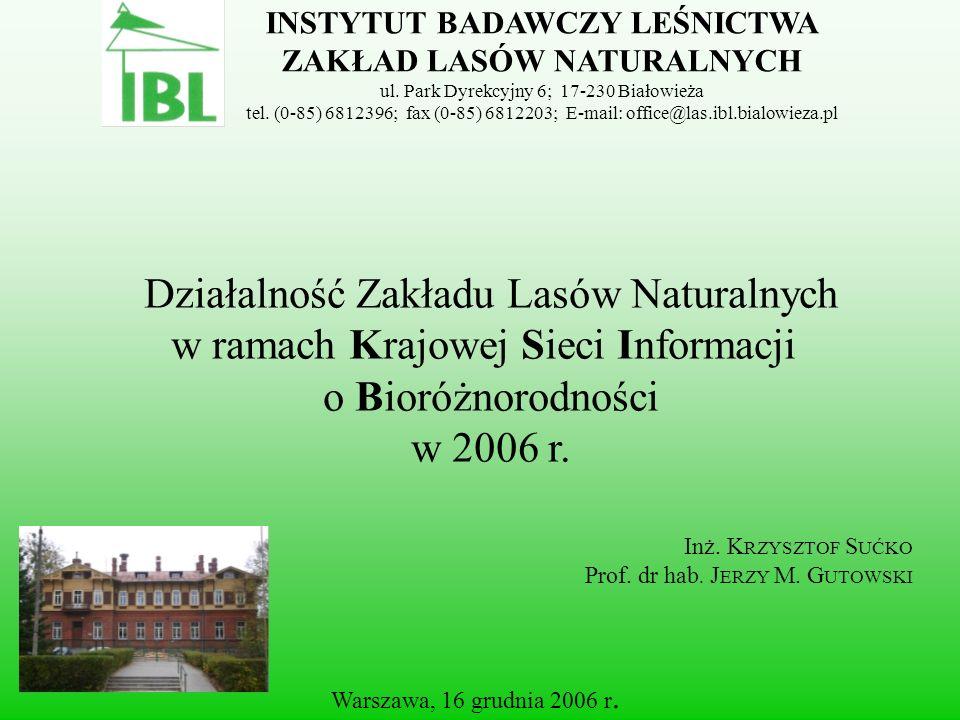 Warszawa, 16 grudnia 2006 r. Działalność Zakładu Lasów Naturalnych w ramach Krajowej Sieci Informacji o Bioróżnorodności w 2006 r. INSTYTUT BADAWCZY L