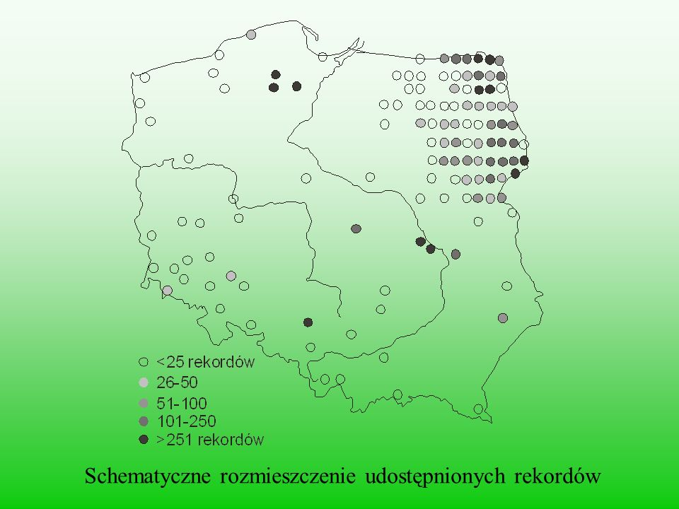 Schematyczne rozmieszczenie udostępnionych rekordów