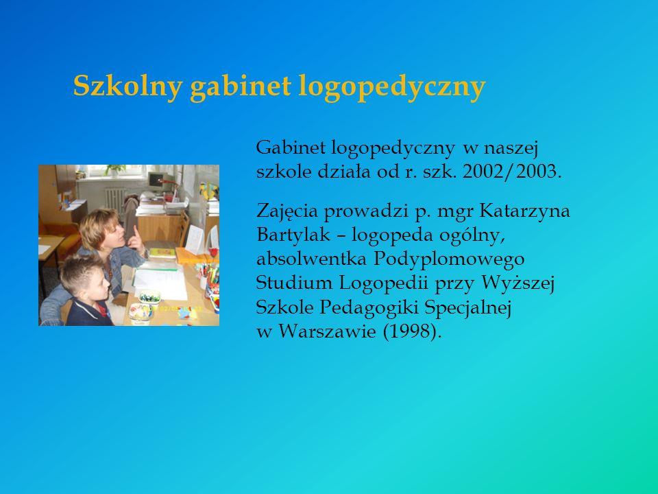 Szkolny gabinet logopedyczny Gabinet logopedyczny w naszej szkole działa od r.