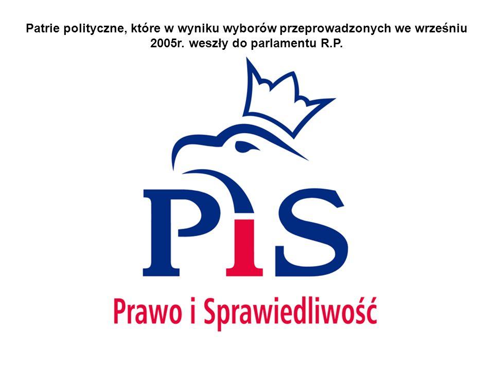 Patrie polityczne, które w wyniku wyborów przeprowadzonych we wrześniu 2005r. weszły do parlamentu R.P.