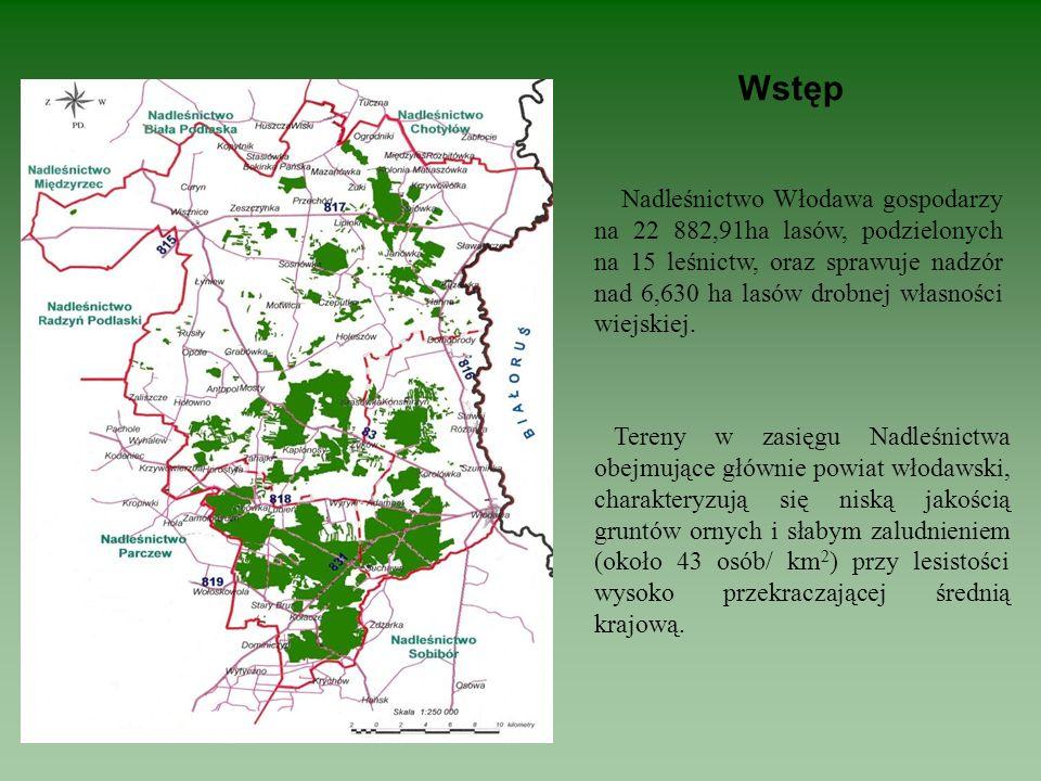 Wstęp Nadleśnictwo Włodawa gospodarzy na 22 882,91ha lasów, podzielonych na 15 leśnictw, oraz sprawuje nadzór nad 6,630 ha lasów drobnej własności wie