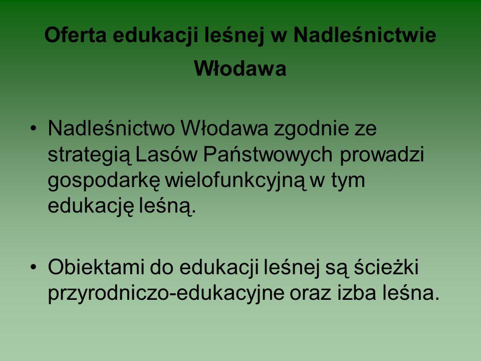 Oferta edukacji leśnej w Nadleśnictwie Włodawa Nadleśnictwo Włodawa zgodnie ze strategią Lasów Państwowych prowadzi gospodarkę wielofunkcyjną w tym edukację leśną.