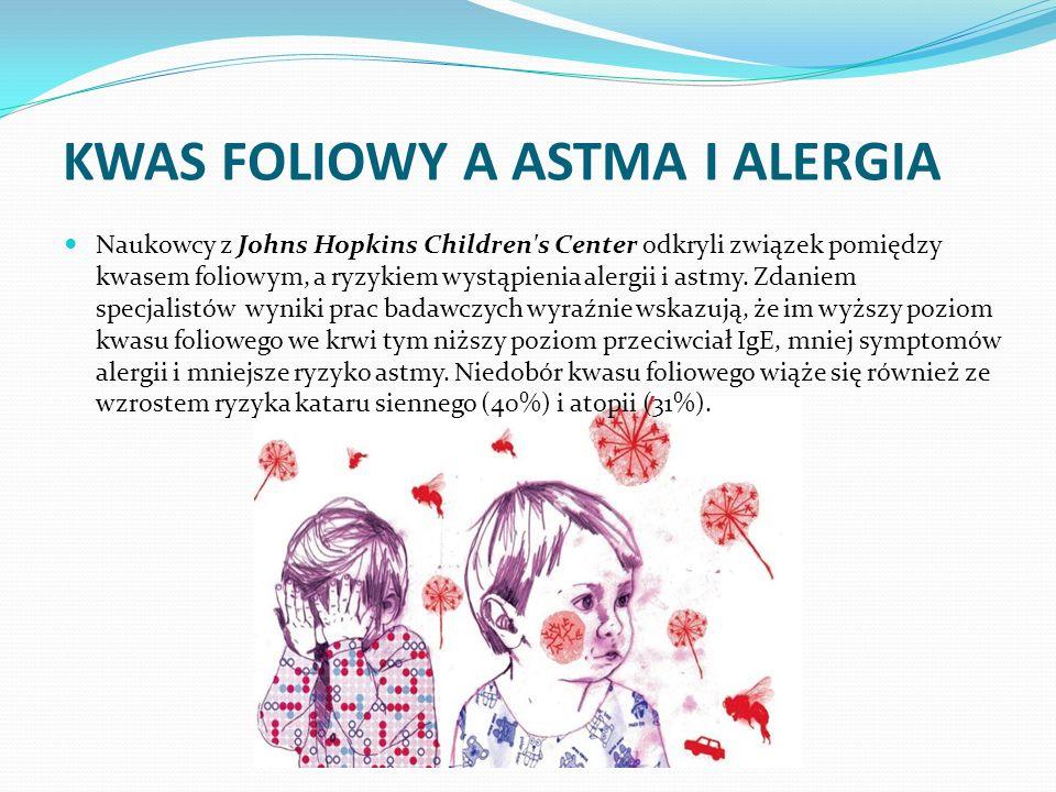 KWAS FOLIOWY A ASTMA I ALERGIA Naukowcy z Johns Hopkins Children's Center odkryli związek pomiędzy kwasem foliowym, a ryzykiem wystąpienia alergii i a