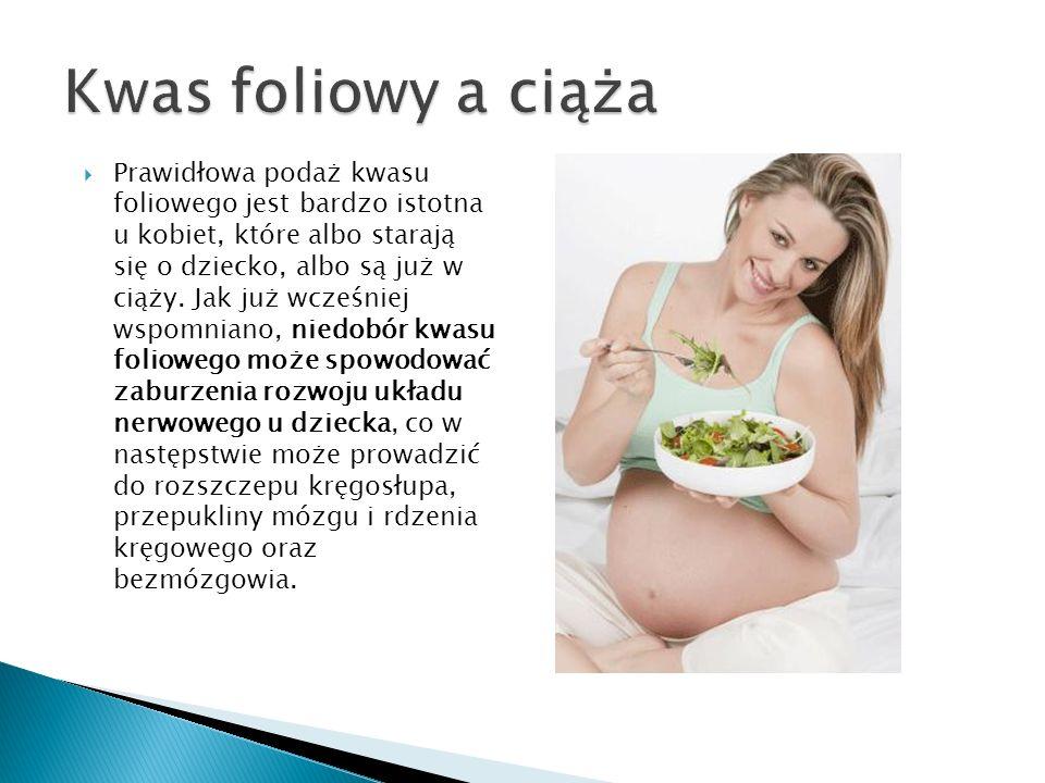 Prawidłowa podaż kwasu foliowego jest bardzo istotna u kobiet, które albo starają się o dziecko, albo są już w ciąży. Jak już wcześniej wspomniano, ni