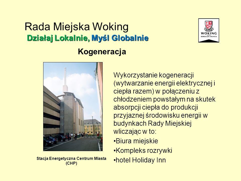 Kogeneracja Stacja Energetyczna Centrum Miasta (CHP) Wykorzystanie kogeneracji (wytwarzanie energii elektrycznej i ciepła razem) w połączeniu z chłodzeniem powstałym na skutek absorpcji ciepła do produkcji przyjaznej środowisku energii w budynkach Rady Miejskiej wliczając w to: Biura miejskie Kompleks rozrywki hotel Holiday Inn Działaj Lokalnie, Myśl Globalnie Rada Miejska Woking Działaj Lokalnie, Myśl Globalnie