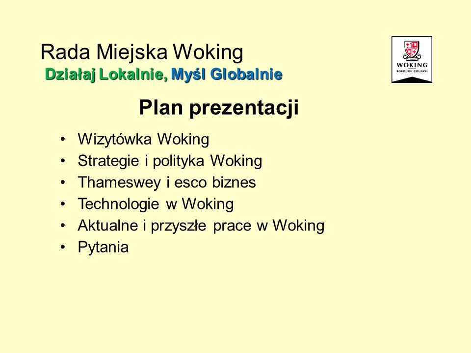 Działaj Lokalnie, Myśl Globalnie Rada Miejska Woking Działaj Lokalnie, Myśl Globalnie Plan prezentacji Wizytówka Woking Strategie i polityka Woking Th