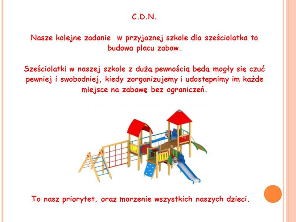 C.D.N. Nasze kolejne zadanie w przyjaznej szkole dla sześciolatka to budowa placu zabaw. Sześciolatki w naszej szkole z dużą pewnością będą mogły się
