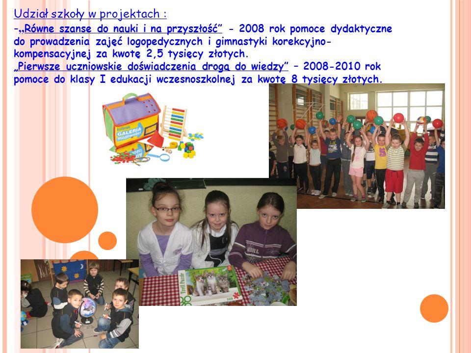 Radosna szkoła W 2009 roku zostało wyposażone miejsce zabaw ( mała sala gimnastyczna) dla dzieci klas I-III edukacji wczesnoszkolnej za kwotę 12 tysięcy złotych.