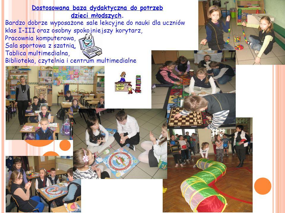 Dostosowana baza dydaktyczna do potrzeb dzieci młodszych. Bardzo dobrze wyposażone sale lekcyjne do nauki dla uczniów klas I-III oraz osobny spokojnie