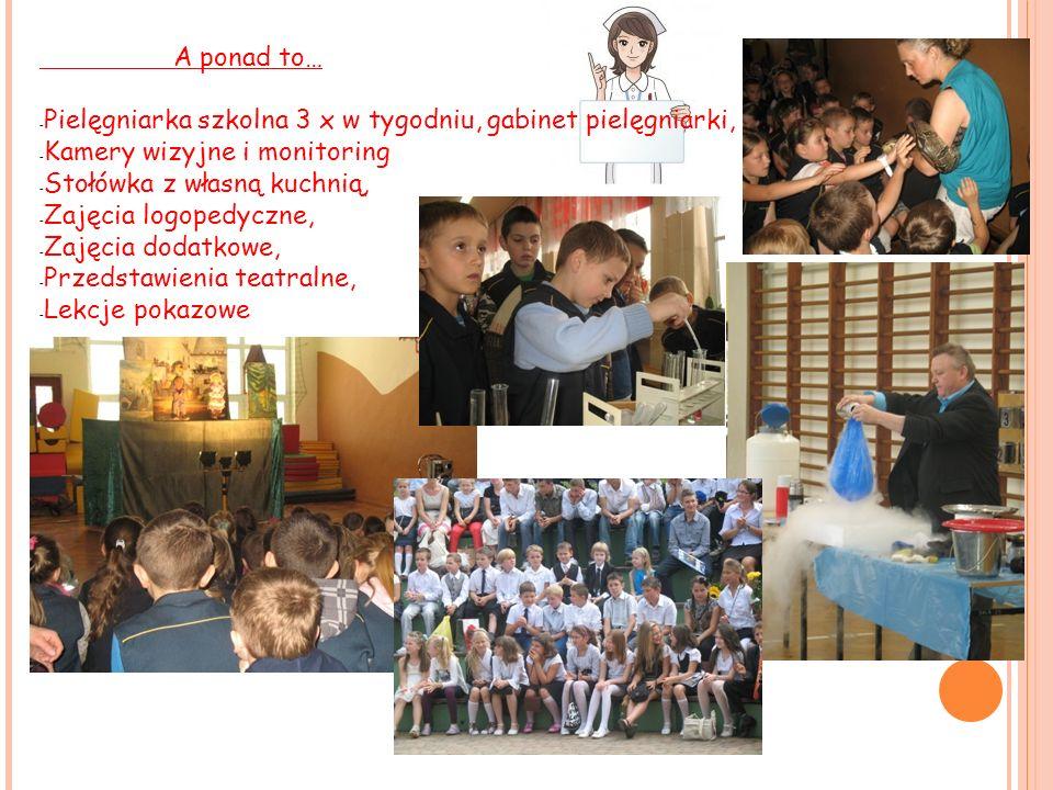 A ponad to… - Pielęgniarka szkolna 3 x w tygodniu, gabinet pielęgniarki, - Kamery wizyjne i monitoring - Stołówka z własną kuchnią, - Zajęcia logopedy