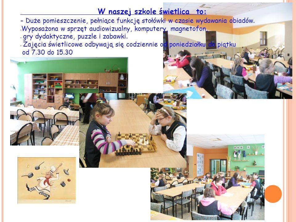 Zadania świetlicy: - Pomoc dziecku w odnalezieniu się w środowisku szkolnym - Zabawa i opieka w przyjaznej atmosferze - Pełna akceptacja i bezpieczeństwo - Kształtowanie pozytywnej motywacji dziecka do nauki i zabawy - Prawidłowe relacje w grupie rówieśniczej - Rozwijanie zdolności manualnych przez stosowanie różnorodnych technik plastycznych i zajęć praktycznych