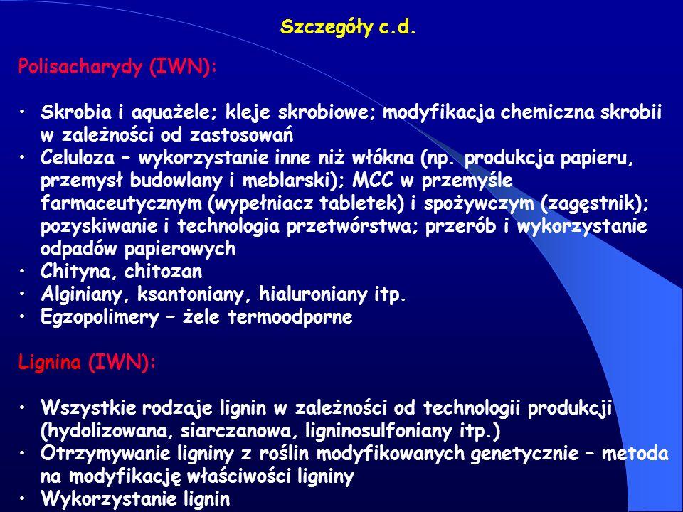 Szczegóły c.d. Polisacharydy (IWN): Skrobia i aquażele; kleje skrobiowe; modyfikacja chemiczna skrobii w zależności od zastosowań Celuloza – wykorzyst