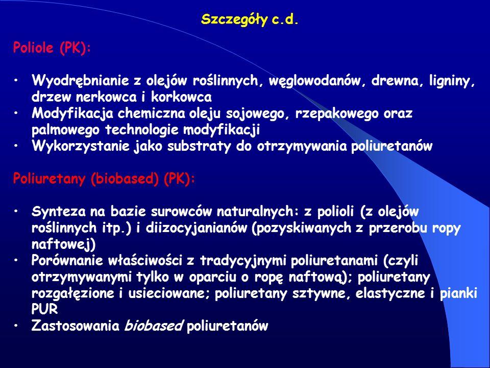 Szczegóły c.d. Poliole (PK): Wyodrębnianie z olejów roślinnych, węglowodanów, drewna, ligniny, drzew nerkowca i korkowca Modyfikacja chemiczna oleju s