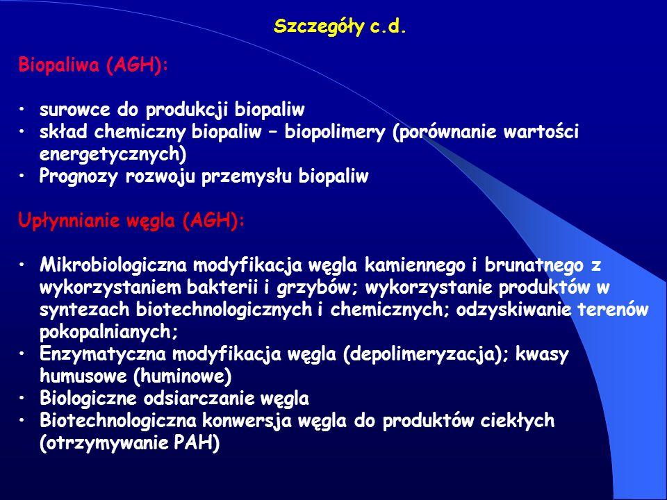 Szczegóły c.d. Biopaliwa (AGH): surowce do produkcji biopaliw skład chemiczny biopaliw – biopolimery (porównanie wartości energetycznych) Prognozy roz