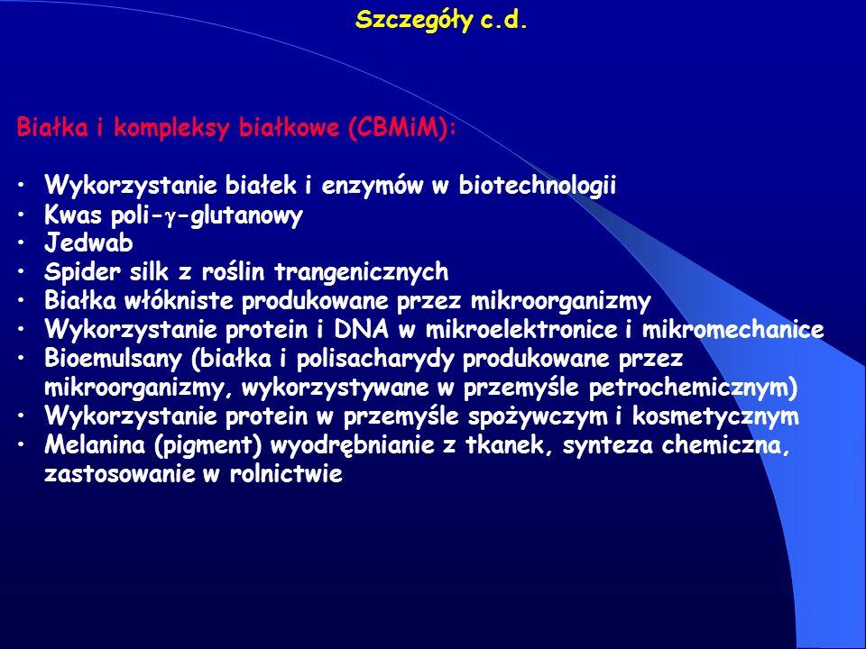 Szczegóły c.d. Białka i kompleksy białkowe (CBMiM): Wykorzystanie białek i enzymów w biotechnologii Kwas poli- -glutanowy Jedwab Spider silk z roślin