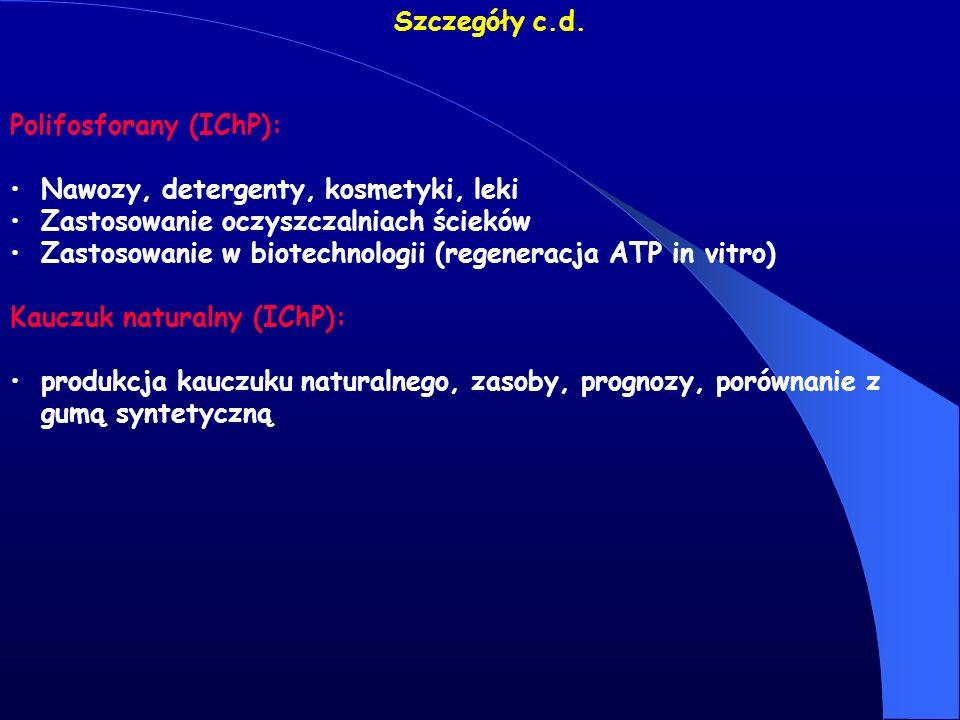 Szczegóły c.d. Polifosforany (IChP): Nawozy, detergenty, kosmetyki, leki Zastosowanie oczyszczalniach ścieków Zastosowanie w biotechnologii (regenerac