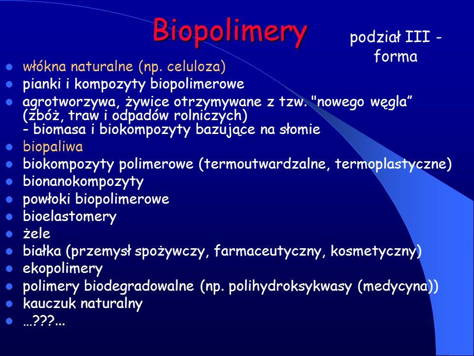 Biopolimery włókna naturalne (np. celuloza) pianki i kompozyty biopolimerowe agrotworzywa, żywice otrzymywane z tzw.
