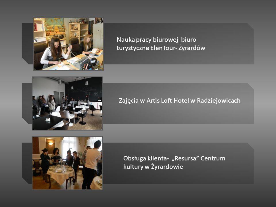 Nauka pracy biurowej- biuro turystyczne ElenTour- Żyrardów Zajęcia w Artis Loft Hotel w Radziejowicach Obsługa klienta- Resursa Centrum kultury w Żyra