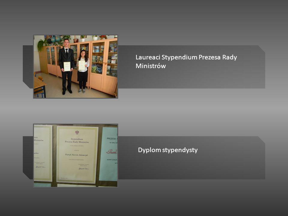 Dyplom stypendysty Laureaci Stypendium Prezesa Rady Ministrów